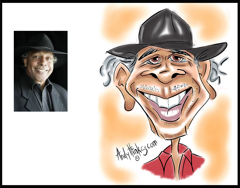 andyhinks.com andy hinks caricature illustration drawing ernie dingo andrew hinks