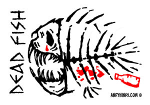 dead fish andyhinks.com andy hinks caricature illustration drawing andrew hinks