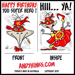 andyhinks.com andy hinks caricature illustration drawing andrew hinks Eumundi Markets Happy Birthday Greeting Card