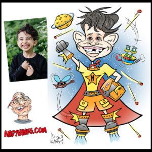 andyhinks.com andy hinks caricature illustration drawing andrew hinks Eumundi Markets super hero