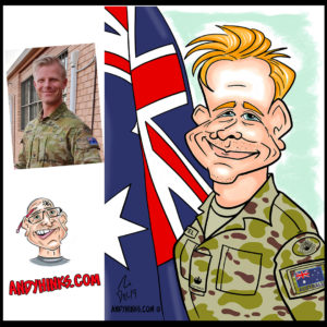 andyhinks.com andy hinks caricature illustration drawing andrew hinks Eumundi Markets Army Navy RAAF Air force