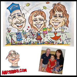 andyhinks.com andy hinks caricature illustration drawing andrew hinks Eumundi Markets Happy Birthday Family Footy AFL